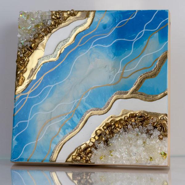 Картина с золотом и камнями глянцевая