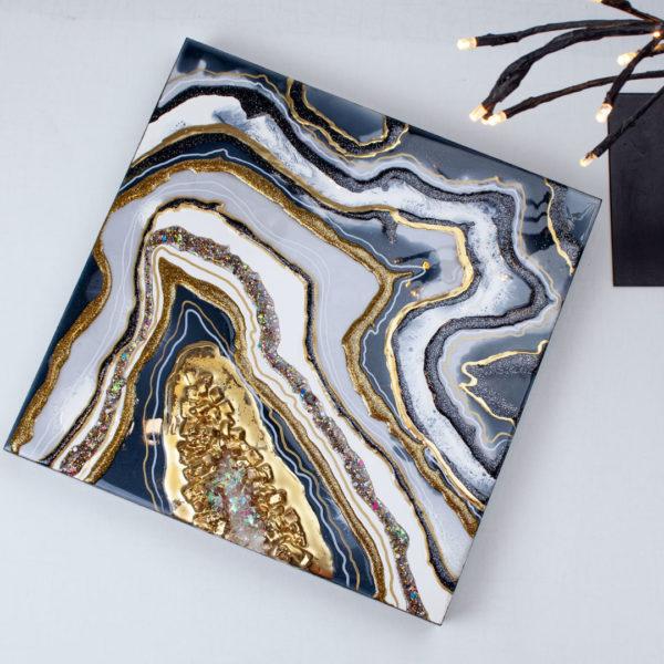 Картина срез камня из смолы абстракция для интерьера.
