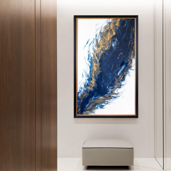 Картина абстракция с золотом из смолы