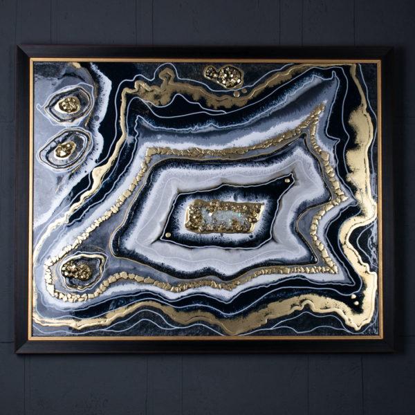 Картина из эпоксидной смолы срез камня жеода