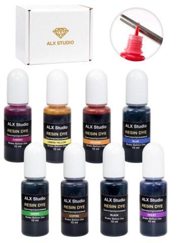 Набор светопропускаемых красителей для эпоксидной смолы 8 шт. по 10 мл — ALX237
