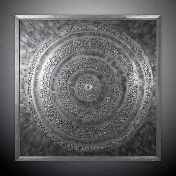 Декоративная картина серебряная большая на стену в багете купить