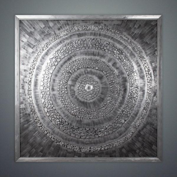 Декоративное панно для интерьера серебряное большое110x110-sm