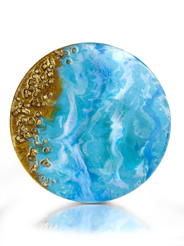 Картина из эпоксидной смолы с золотом и камнями, выполнена в технике Resinart.