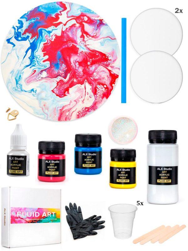 Набор для рисования акриловыми красками в технике Fluid Art